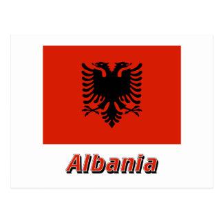 Albania Flag with Name Postcard