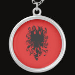 Albania Gnarly Flag Silver Plated Necklace