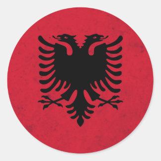 Albania Grunge Flag Classic Round Sticker