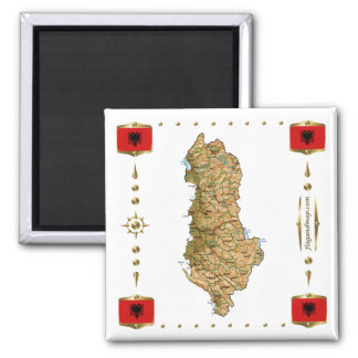 Albania Map + Flags Magnet