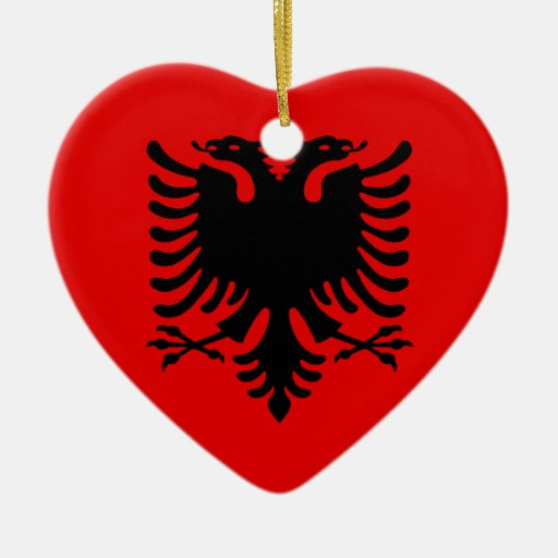 Albania Double-Sided Heart Ceramic Christmas Ornament