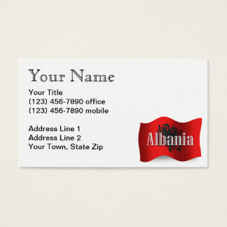 Albania Waving Flag Business Card