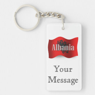 Albania Waving Flag Double-Sided Rectangular Acrylic Keychain
