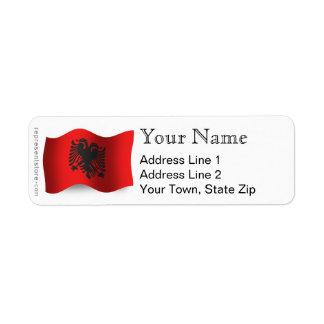 Albania Waving Flag Label