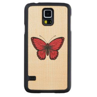 Albanian Butterfly Flag Carved® Maple Galaxy S5 Case