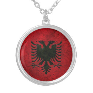 Albanian jewelry zazzle albanian flag aged steel effect silver plated necklace aloadofball Gallery