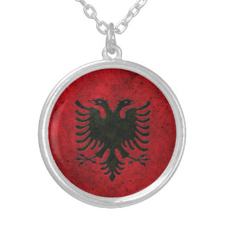 Albanian Flag Aged Steel Effect Silver Plated Necklace