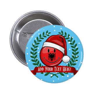 Albanian Flag Christmas Style Pinback Button