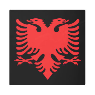 Albanian Flag Double Headed Eagle In Red Metal Print