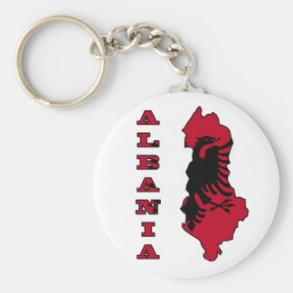 Albanian Flag in Outline Map of Albania Basic Round Button Keychain