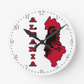 Albanian Flag in Outline Map of Albania Round Wall Clocks