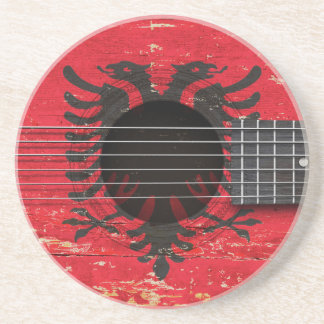 Albanian Flag on Old Acoustic Guitar Drink Coaster