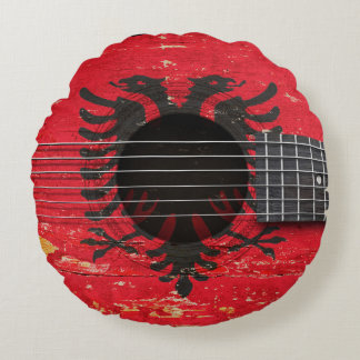 Albanian Flag on Old Acoustic Guitar Round Pillow