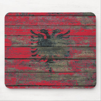 Albanian Flag on Rough Wood Boards Effect Mouse Pad