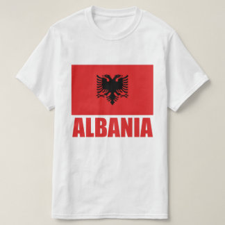 Albanian Flag Red Text T-Shirt