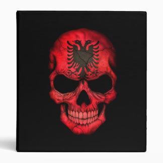 Albanian Flag Skull on Black 3 Ring Binders