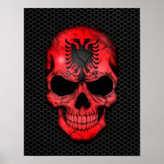 Albanian Flag Skull on Steel Mesh Graphic Poster