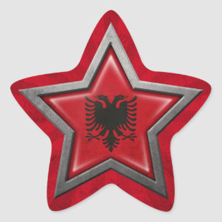 Albanian Flag Star with Rays of Light Star Sticker