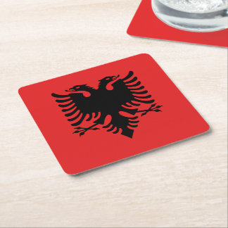 Albanian flag square paper coaster