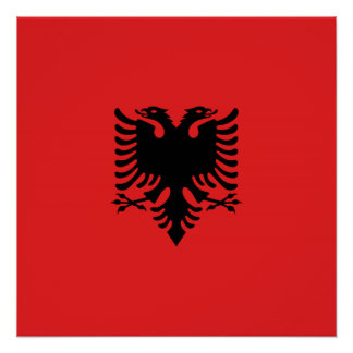 Albanian flag with two-headed eagle poster