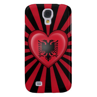 Albanian Heart Flag with Star Burst Samsung Galaxy S4 Cover