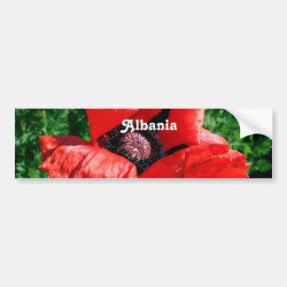 Albanian Red Poppy Car Bumper Sticker