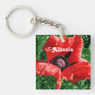 Albanian Red Poppy Single-Sided Square Acrylic Keychain