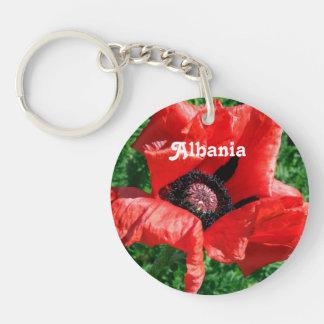 Albanian Red Poppy Single-Sided Round Acrylic Keychain
