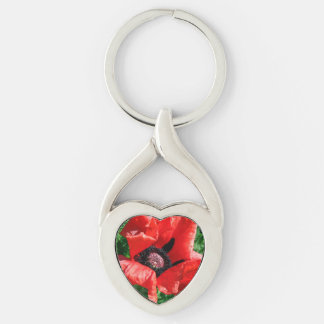 Albanian Red Poppy Silver-Colored Heart-Shaped Metal Keychain