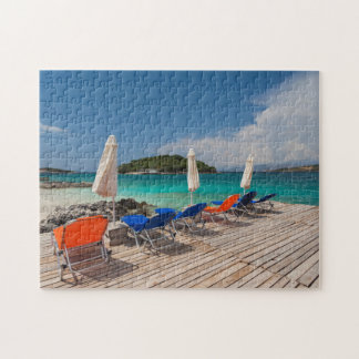 Albanian Riviera, Ksamil, town beachfront Jigsaw Puzzle