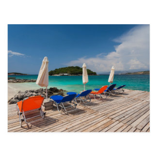 Albanian Riviera, Ksamil, town beachfront Postcard