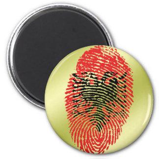 Albanian touch fingerprint flag 2 inch round magnet