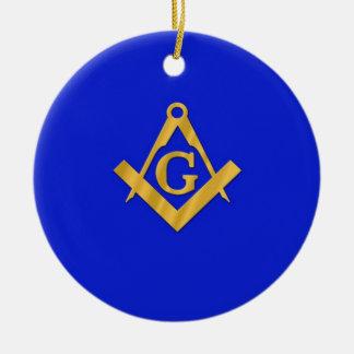 Albañil - azul masónico adorno navideño redondo de cerámica