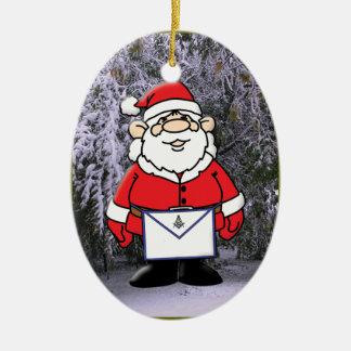 Albañil Santa en la nieve Adorno Navideño Ovalado De Cerámica