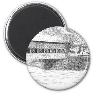Albany Covered Bridge 2 Inch Round Magnet