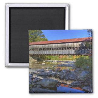 Albany covered bridge over Swift River, White 2 Inch Square Magnet