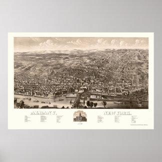 Albany, mapa panorámico de NY - 1879 Póster
