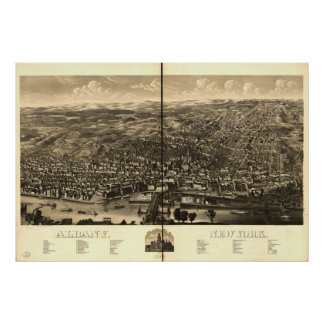 Albany New York 1879 Antique Panoramic Map Poster