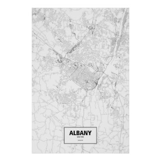 Albany, New York (black on white) Poster