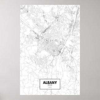 Albany, New York (black on white) Poster
