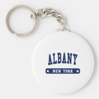 Albany New York College Style tee shirts Basic Round Button Keychain
