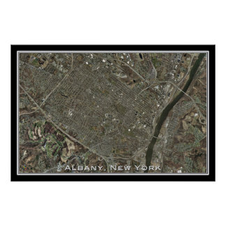 Albany New York From Space Satellite Art Poster