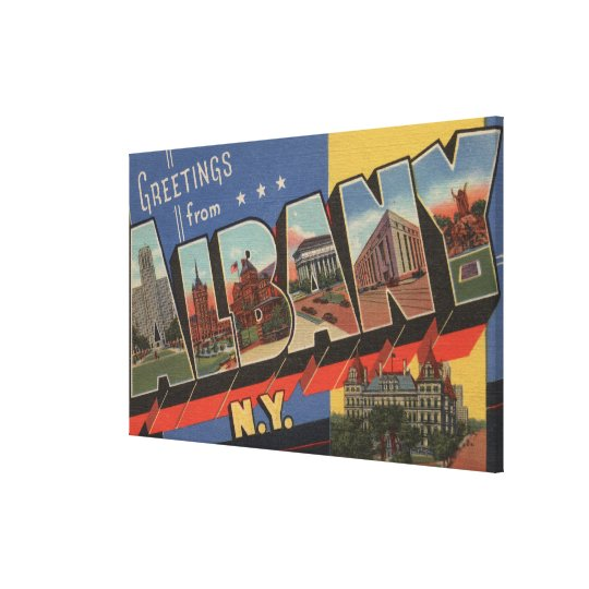 Albany, New York - Large Letter Scenes 2 Canvas Print