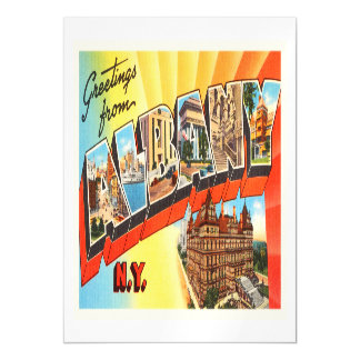 Albany New York NY Old Vintage Travel Souvenir Magnetic Card