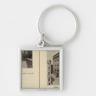 Albany, New York Silver-Colored Square Keychain