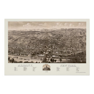 Albany, NY Panoramic Map - 1879 Poster