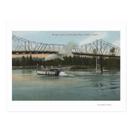 Albany, Oregon - Paddle Boat Crossing Willamette Postcard