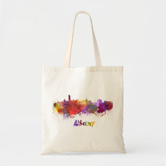 Albany skyline in watercolor tote bag