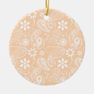 Albaricoque ligero Paisley Floral Ornamento Para Arbol De Navidad