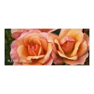 """Albaricoque y rosas rosados DSC3262 Invitación 4"""" X 9.25"""""""